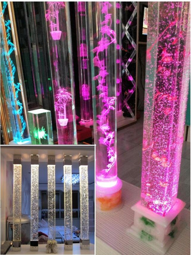 Стеклянный столб с пузырьками или с 3D узором на заказ