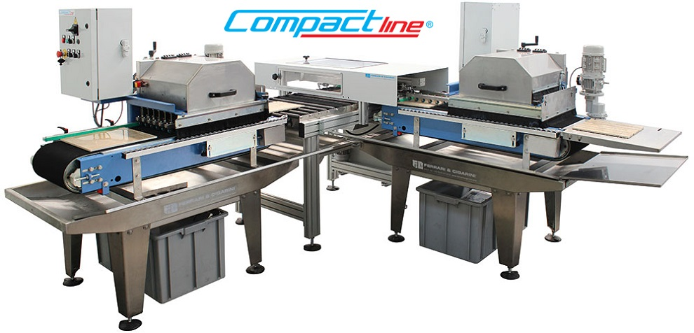 COMPACTLINE - AUTOMATIC CUTTING LINE FOR PROCESSING SAMPLES AND MOSAICS IN CERAMIC TILES, GRES PORCELAIN, MARBLE, GRANITE AND AGGLOMERATED PRODUCTS